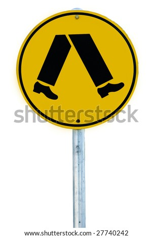 A pedestrian crossing sign consisting of a pair of legs in a circle isolated on white. - stock photo