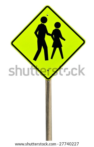 A pedestrian crossing sign isolated on white. - stock photo