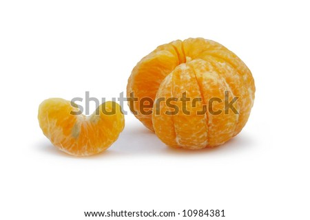 A peeled tangerine, one section removed