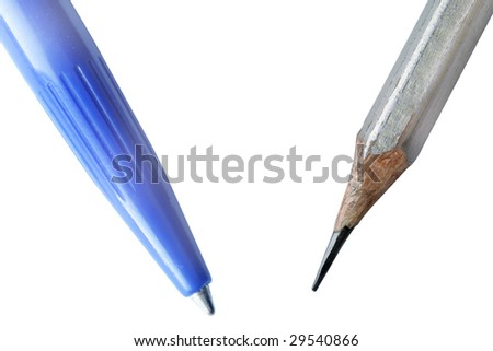 a pen and a pencil under the white background