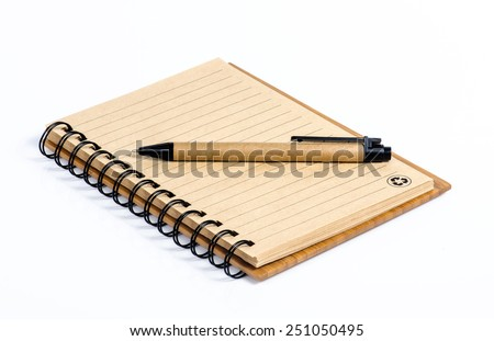 A pen and blank paper of open book on white background - stock photo