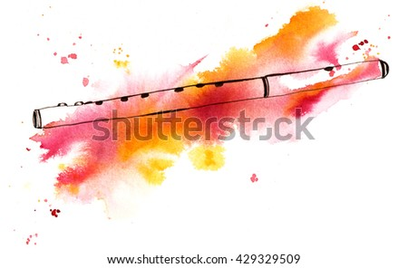 A pen and ink and watercolor drawing of a vintage fife (a small, high-pitched, transverse flute, similar to the piccolo), hand painted on white background