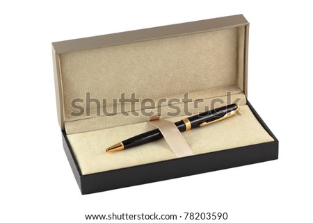 A pen in a gift box isolated on white - stock photo