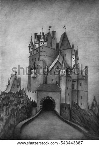 A pencil drawing of a gothic castle