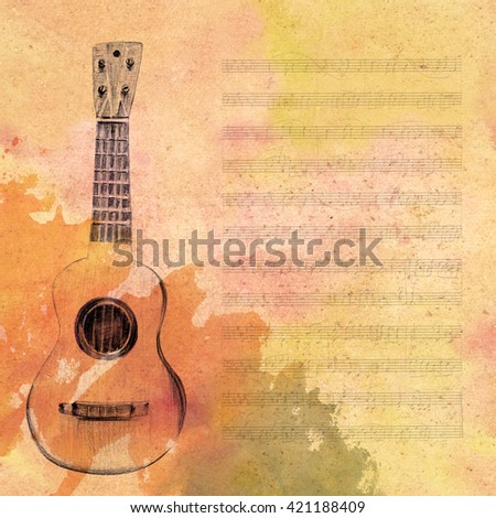 A pencil drawing of a vintage tiple guitar, on a piece of aged sheet music toned to look like old parchment, with a watercolor stain - stock photo