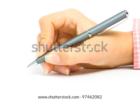 a pencil in a hand is isolated on a white background