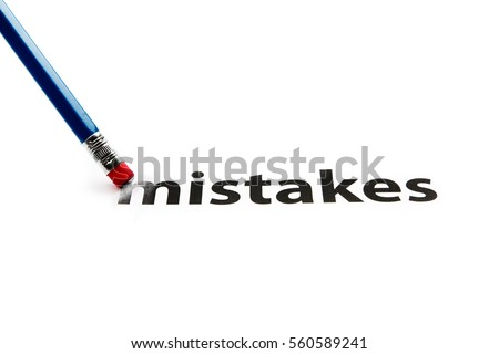A pencil with eraser is correcting mistakes. Eraser and mistakes concept. To erase mistakes.