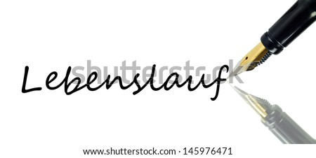 A pencil writes with reflection on white background. - stock photo
