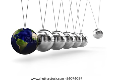A pendulum ready to hit the earth - stock photo