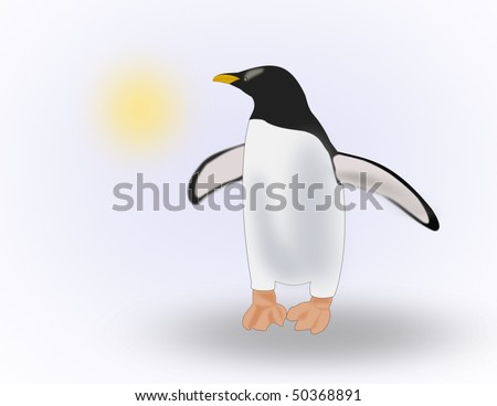 A Penguin looking at the sun.
