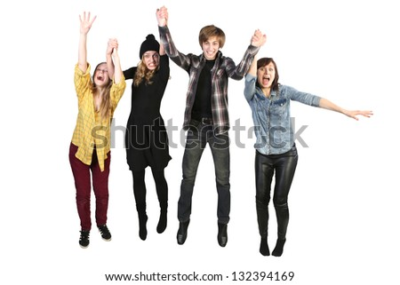 A people group jumping for happiness and joy with the raised hands