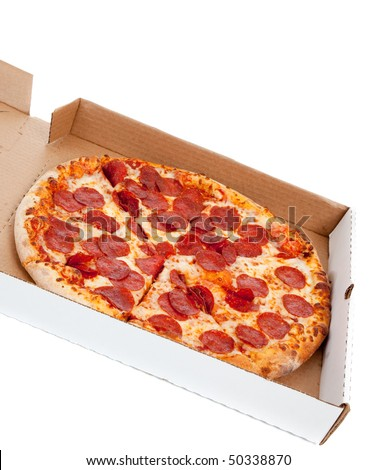 A Pepperoni pizza in box on a white background - stock photo