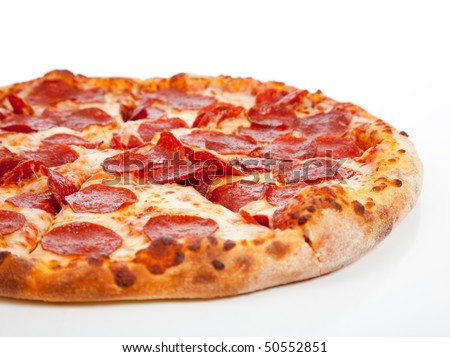 A Pepperoni pizza  on a white background - stock photo