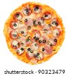 a pepperoni pizza with black olives, top view, isolated - stock photo