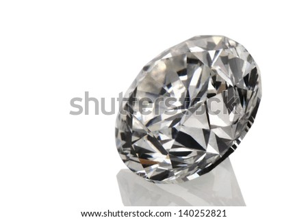 A perfect cut of diamond isolated on white background. - stock photo