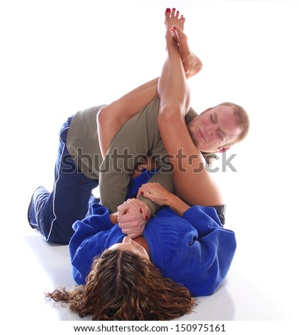 A Perfect Jiu-jitsu Armbar - stock photo