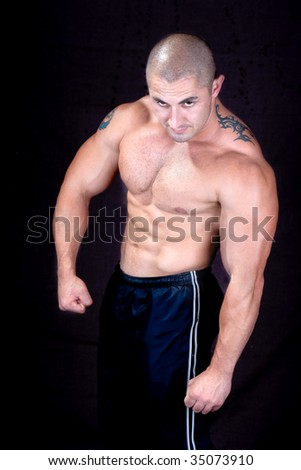 A perfect muscular man posing artistic,studio shot - stock photo