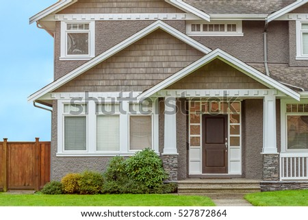 Perfect Neighborhood Houses Suburb Fall North Stock Photo