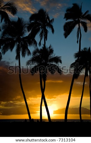 A perfect November sunset at Kihei, Maui. - stock photo