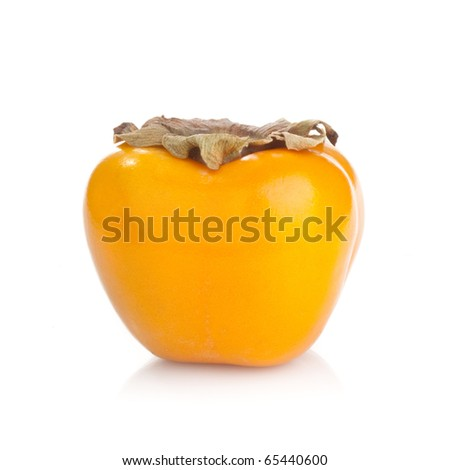 A perfect persimmon fruit on white background - stock photo