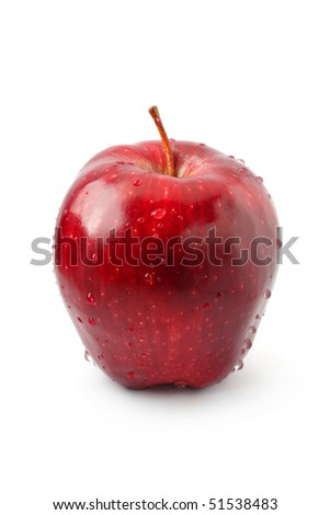 A perfect red apple isolated on white background.