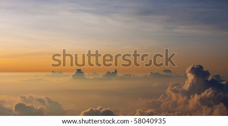 A perfect sunset from the top of Haleakala Volcano. Maui, Hawaii. - stock photo
