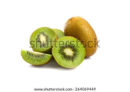 A perfectly fresh kiwifruit isolated on white. - stock photo