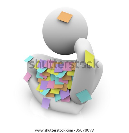 A person covered in sticky notes tries to remember something he forgot - stock photo