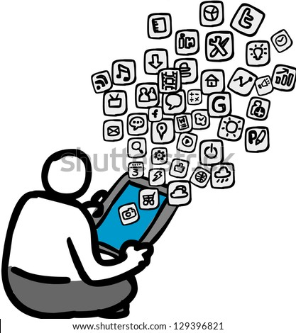 A person downloading apps on the tablet. - stock photo
