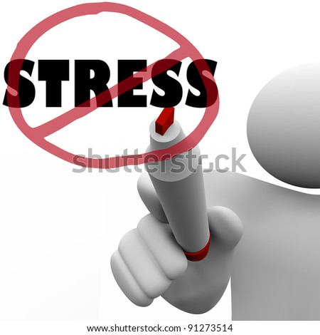 A person draws a circle and slash over the word Stress to symbolize the reduction or elimination of stressful thoughts, actions or other factors that create anxiety or strain in life - stock photo