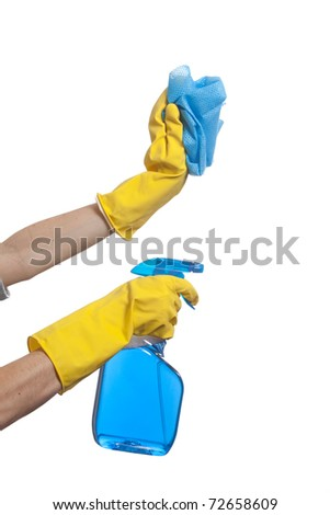 A Person Holding a spray bottle and scrub brush - stock photo