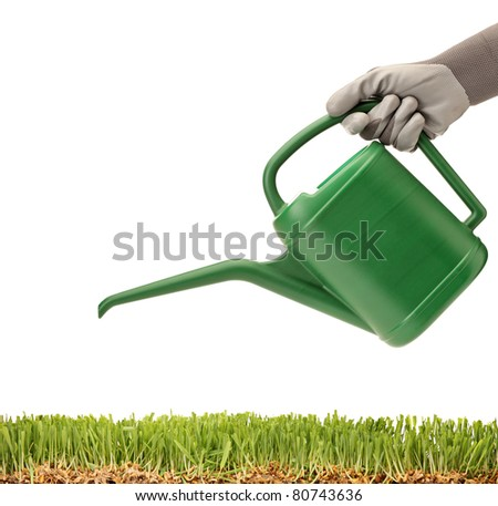 A person holding a watering can and green glass isolated on white background - stock photo