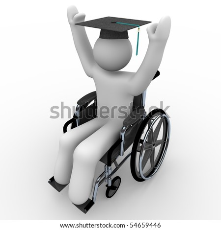 A person in a wheelchair celebrates graduation, wearing a cap with tassel - stock photo