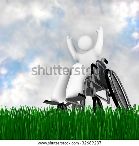 A person in a wheelchair enjoying the outdoors, on a green grass under a blue sky - stock photo