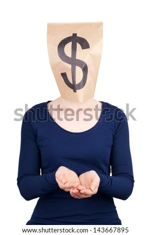 a person in begging gesture with a dollar sign as head
