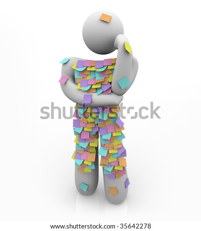 A person is covered in sticky reminder notes, struggling to remember something he forgot - stock photo
