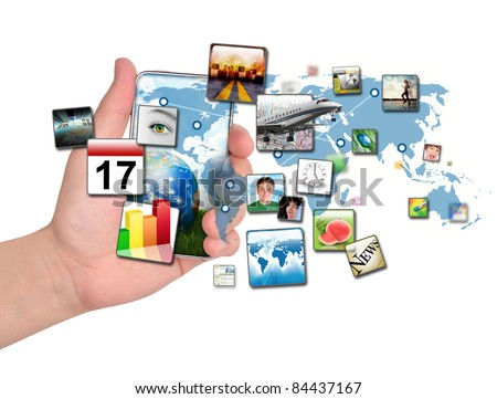 A person is holding a smart phone isolated with a map of the Earth and various apps coming out of the phone. Use it for a communication concept. - stock photo