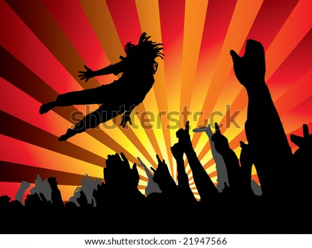 A person jumping at a concert with a abstract background - stock photo