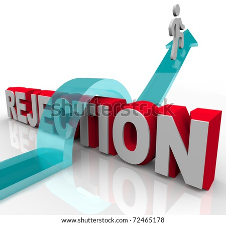 A person jumps over the word Rejection, riding an arrow to success