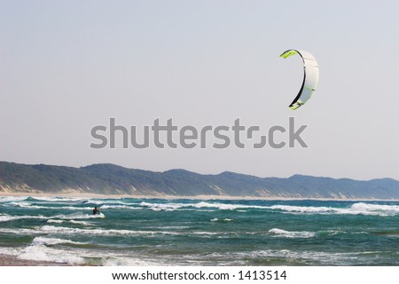 A person kite surfing in Sudwana