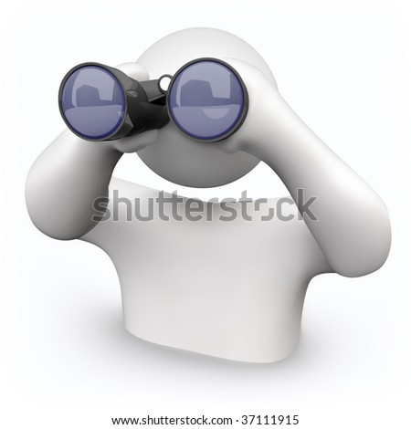A person looks through binoculars to find answers to his questions