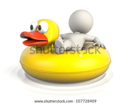 A person lying on a donut pool float, enjoying his holidays on the water - stock photo