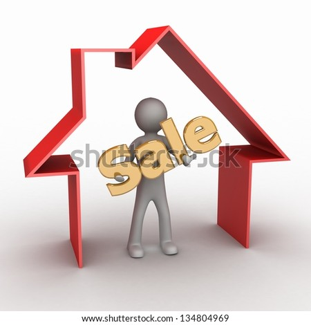 A person makes a presentation of the new homes for sale - stock photo