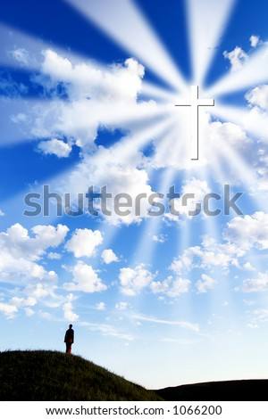 A person on a hill looking up to a glowing cross in the sky.