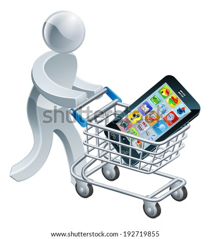 A person pushing a shopping cart or trolley with a large mobile cell phone in it - stock photo