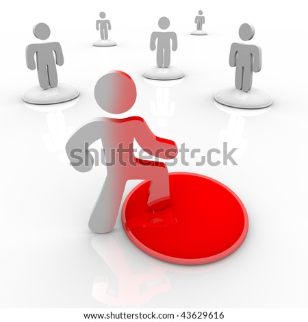 A person takes the first bold step into change, onto a red button which changes his appearance - stock photo