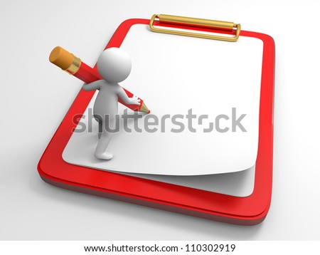 A person to write with a pencil on the broad - stock photo