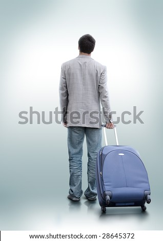 A person who decided to travel. Man with clipping path. Look for more in MY PORTFOLIO - stock photo