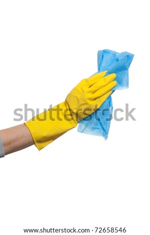 A Person Wiping window with Rag - stock photo