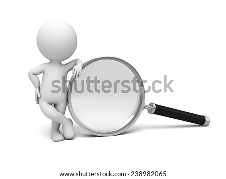 A person with a big magnifying glass - stock photo